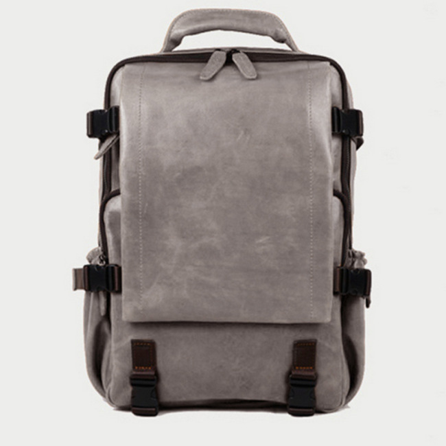 2020 New Retro Pu backpack fashion personality large capacity schoolbag men's trend solid color business backpack customization