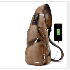 Haodil new shoulder bag men's leisure charging bag sports USB chest bag outdoor business straddle bag batch