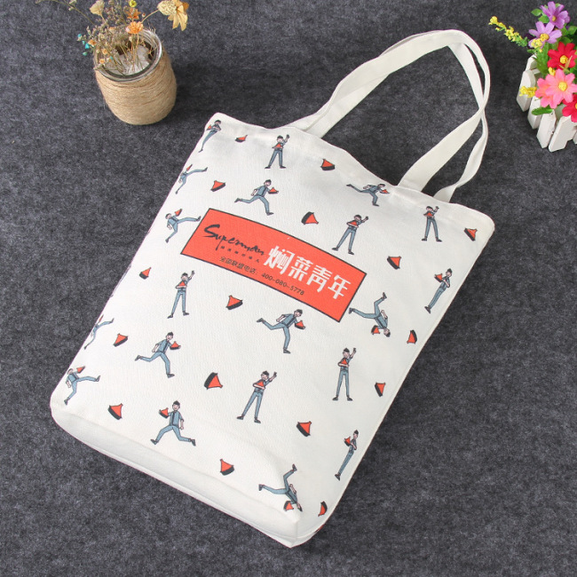 All cotton hand-held canvas bag customized color printing shopping canvas bag customized creative advertisement cotton bag logo