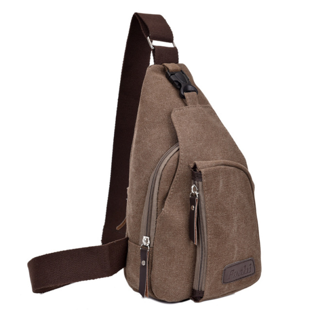 Korean casual men's small chest bag, sports canvas bag, men's bag, multifunctional outdoor Crossbody Backpack
