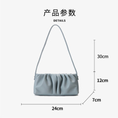 Leather women's bag new pleated armpit bag retro Minority Law stick bag Fashion Shoulder Bag personalized handbag