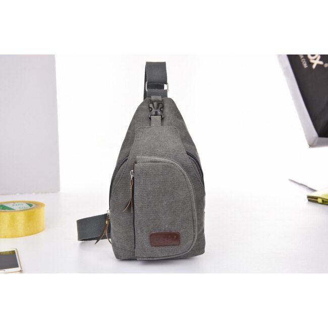 Korean casual men's small chest bag, sports canvas bag, men's bag, multifunctional outdoor Crossbody Backpack