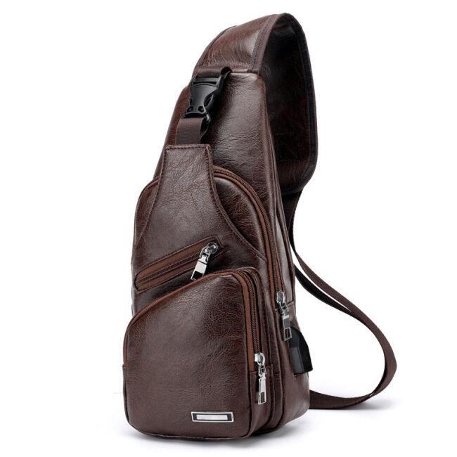 Haodil new shoulder bag men's leisure charging bag sports USB chest bag outdoor business straddle bag batch