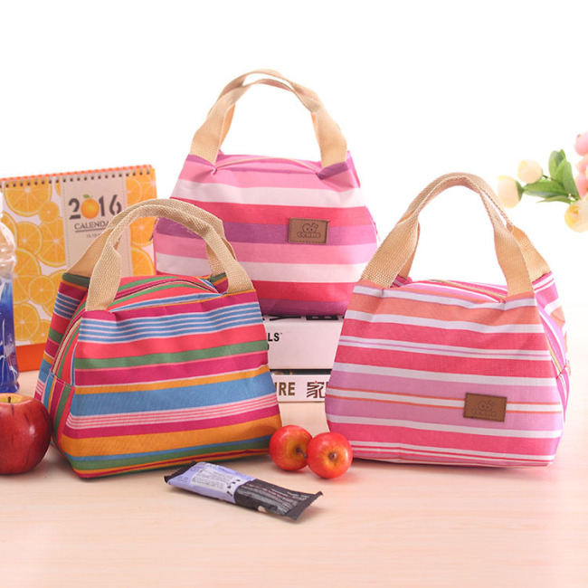 Art blue factory direct Korean version lovely cold insulation bag picnic bag stripe lunch bag with zipper lunch box bag