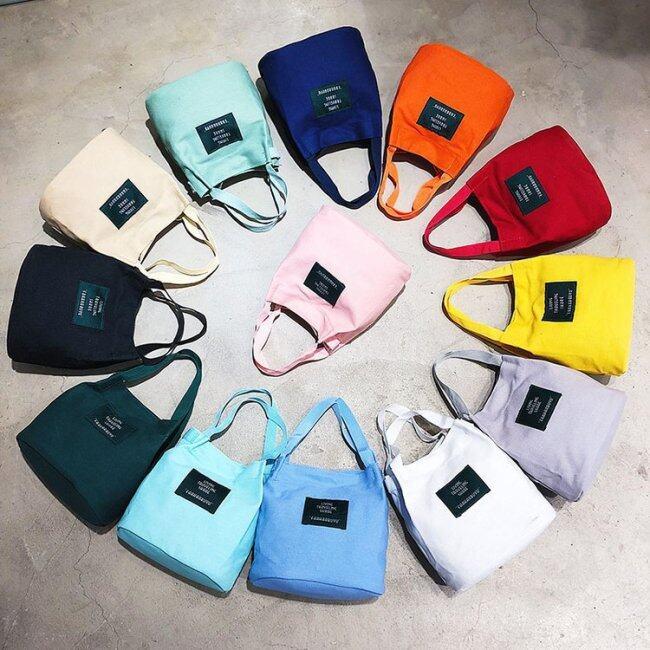 Color original Canvas Handbag women's straddle art leisure small bag Korean version small fresh one shoulder small handbag