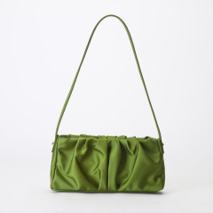 Leather women's bag 2020 new pleated armpit bag retro Minority Law stick bag Fashion Shoulder Bag personalized handbag