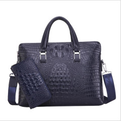 New men's bag crocodile double pull handbag men's business briefcase fashion straddle one shoulder computer bag