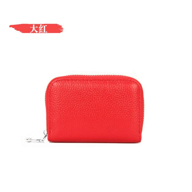 Leather accordion card bag RFID anti-theft women's clip men's card bag multi-functional zipper Purse