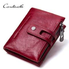 Factory supply double zipper buckle men's Wallet Leather Vintage Crazy Horse cowhide men's bag leisure Wallet