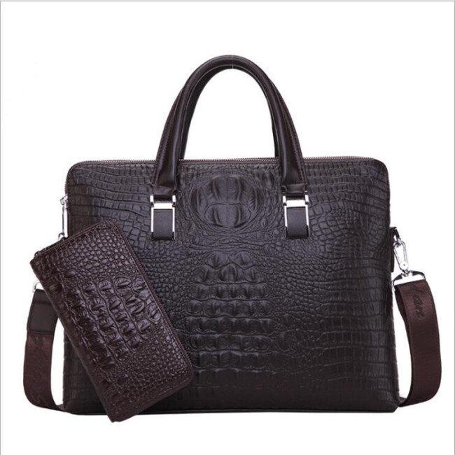New men's bag crocodile double pull handbag men's business briefcase fashion straddle one shoulder computer bag