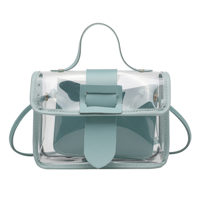 Small fresh women's bag summer new transparent bag fashion small square bag single shoulder straddle bag simple bag