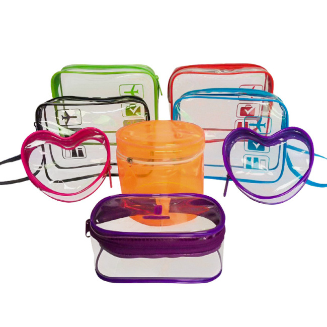 PVC cosmetic bag waterproof transparent hand washing bag zipper plastic storage bag lazy Travel Cosmetic Bag