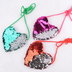 Factory direct selling popular Sequin hanging rope bag love children's zero purse creative cross bag customized wholesale