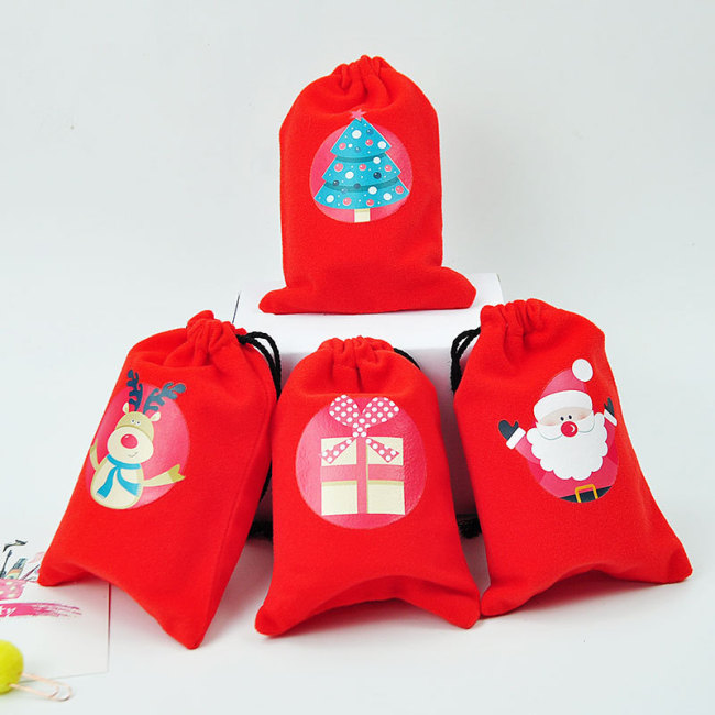 Creative red bundle pocket christmas pattern decoration flannel Gift Drawstring Bag Christmas gift storage bag in stock
