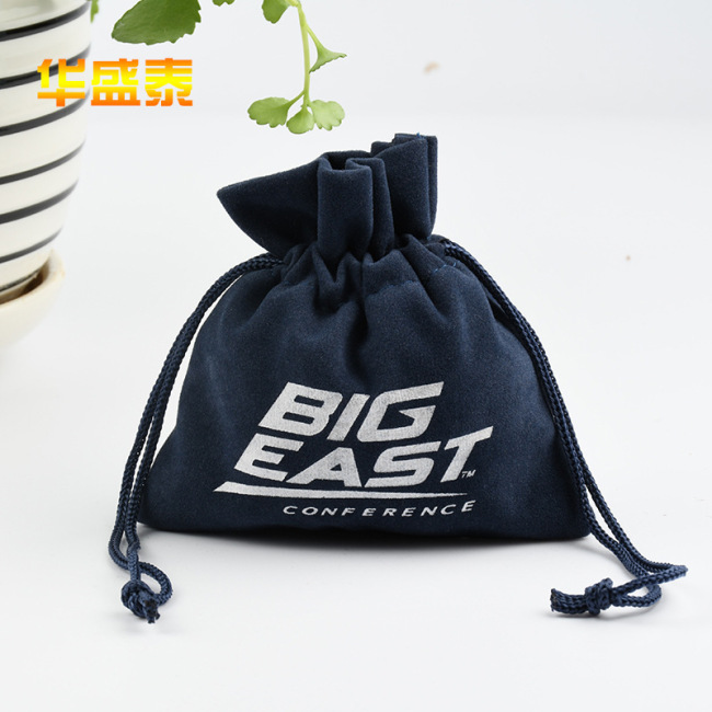 Customized flannel bundle pocket custom made velvet Drawstring Jewelry Bag Drawstring flocking cloth bag manufacturer wholesale