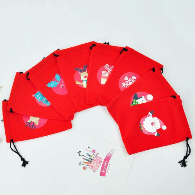 Creative red bundle pocket christmas pattern decoration flannel Gift Drawstring Bag Christmas gift storage bag in stock