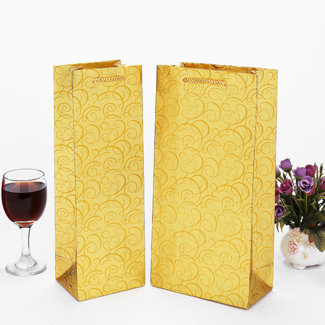 Gold gift paper bag portable wine bag red wine packaging box single and double gift box wine carton