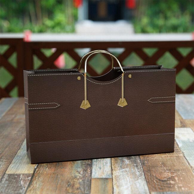 Factory direct spot double bottle wine paper bag horizontal iron ring hand bag red wine gift bag return gift bag