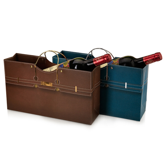 Factory direct spot double bottle wine paper bag horizontal iron ring hand bag red wine gift bag return gift bag