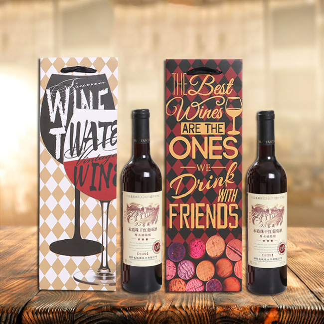 High grade red wine bag gift packaging bag single and double wine handbag paper bag spot wholesale customized logo