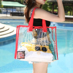 Swimming bag transparent PVC waterproof bag storage bag beach bag hand bath portable shoulder bag travel bag customized