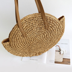 Bohemian round straw bag One Shoulder Tote women's bag holiday beach bag woven Pu handbag