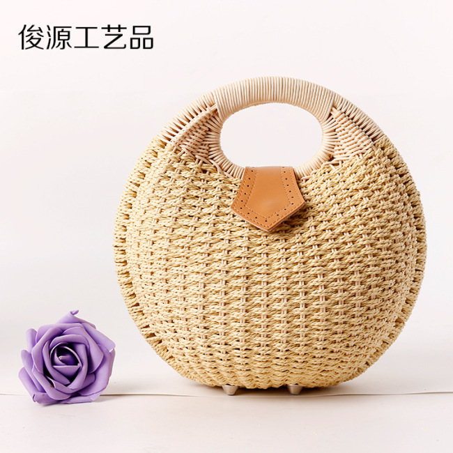 2019 new straw woven bag rattan Beach Women's handbag supply wholesale manufacturers direct supply