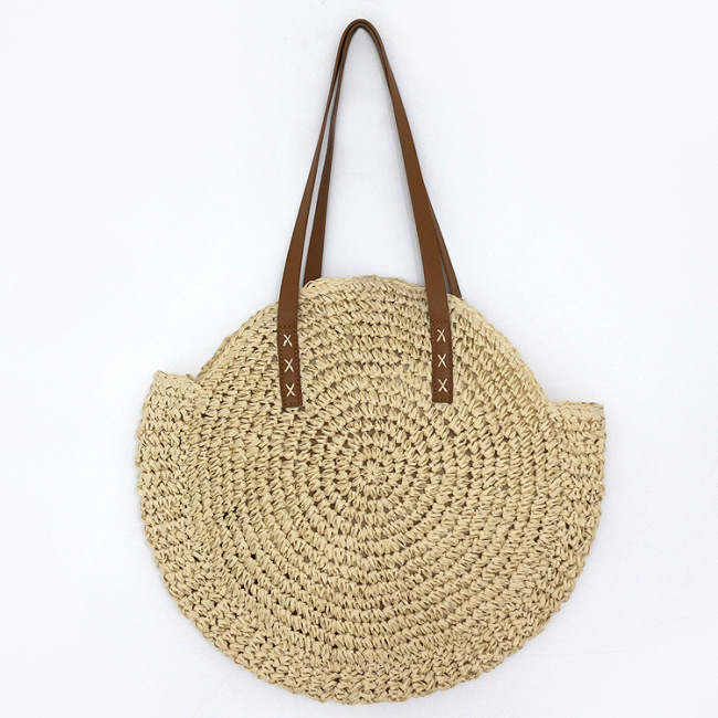 Bohemian round straw bag One Shoulder Tote women's bag holiday beach bag woven Pu handbag