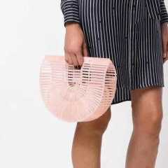 Ins acrylic fashion creative gift beach handbag bamboo woven bag rattan woven woman straw woven bag