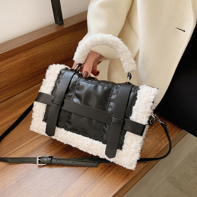 Autumn and winter Plush small bag women's bag new 2020 high sense handbag single shoulder crossbite small square bag