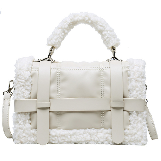 Autumn and winter Plush small bag women's bag new 2020 high sense handbag single shoulder crossbite small square bag