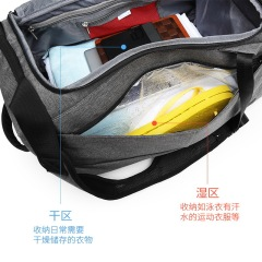 Travel bag portable large capacity dry wet separation fitness bag luggage bag anti theft travel bag men's customization