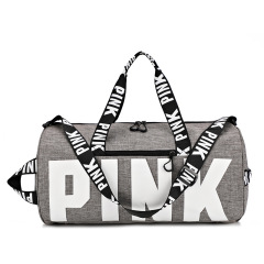 Pink travel bag sports bag cross border fitness bag printing portable shoulder bag custom logo large capacity storage bag
