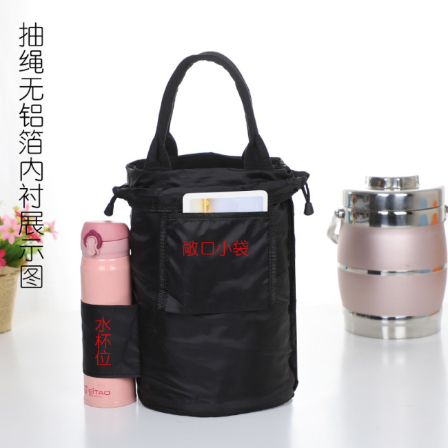 Manufacturer customized round lunch box bag, thermal insulation handbag, canvas snack bag, portable lunch bag, bucket bag