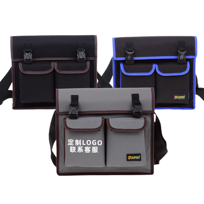 Multi-function single shoulder thickened hardware tool bag sailcloth bag electrician bag can be customized by sticking a brand