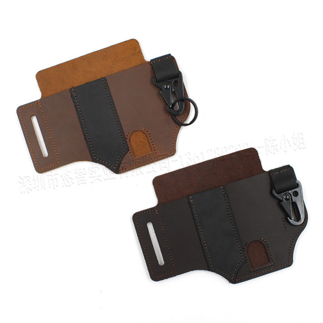 Spot outdoor camping tool leather case field survival waist hanging EDC tactical leather case flashlight leather case