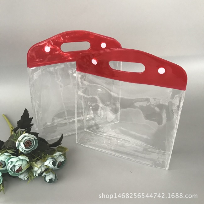 Environmental transparent PVC handbag PVC button plastic packaging bag gift bag PVC cosmetic packaging bag