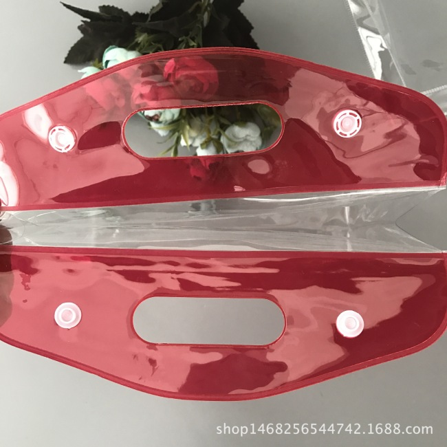 Environmental transparent PVC handbag PVC button plastic packaging bag gift bag PVC cosmetic packaging bag