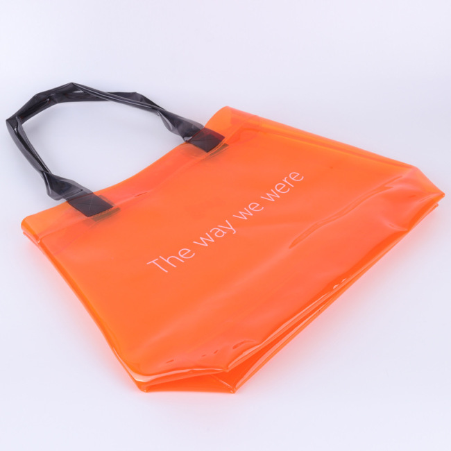 Green plastic transparent laser PVC handbag jelly bag custom export high end gift bag logo