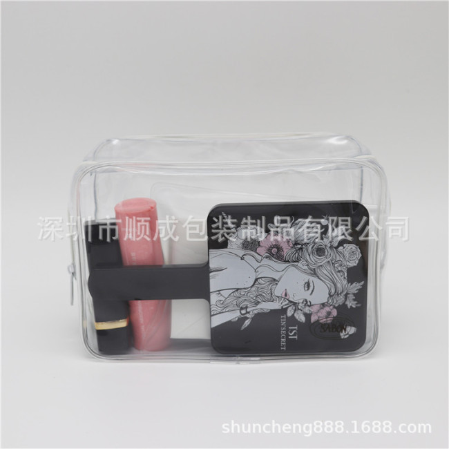 PVC environmental protection travel washing storage bag PVC cosmetic bag PVC transparent rubber bone zipper bag