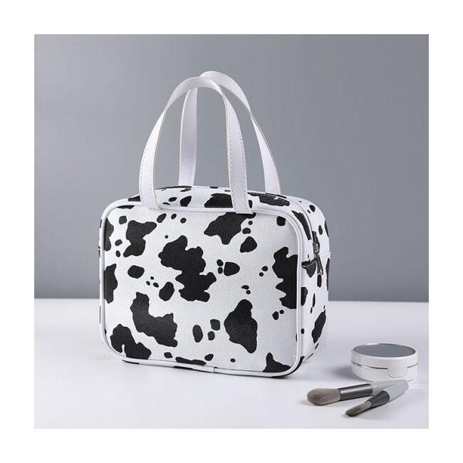 Korean style cow pattern waterproof cosmetic bag large capacity portable storage bag fashion waterproof wash bag