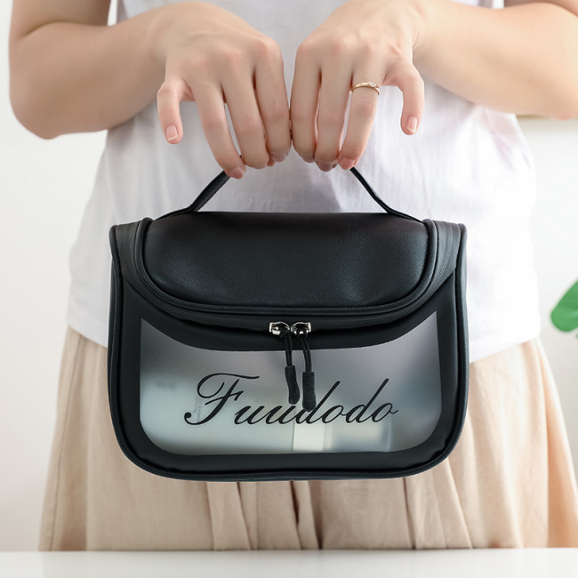 New portable cosmetic bag PU waterproof washing bag girl fashion portable large capacity hook TPU storage customization