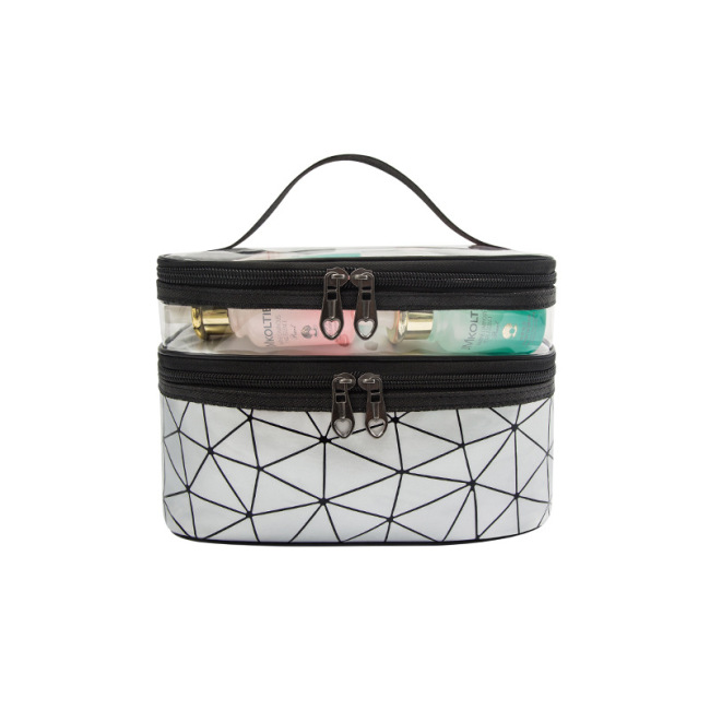 New Lingge double layer portable cosmetic bag large capacity female portable travel waterproof washing bag portable storage bag