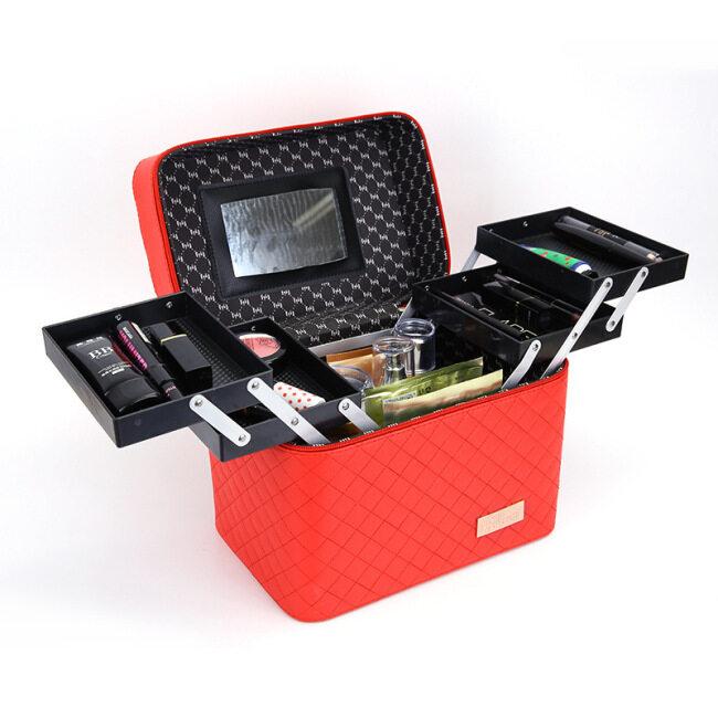 Cross border new four open lattice cosmetic box portable jewelry box cosmetic bag large multi-functional cosmetic storage box