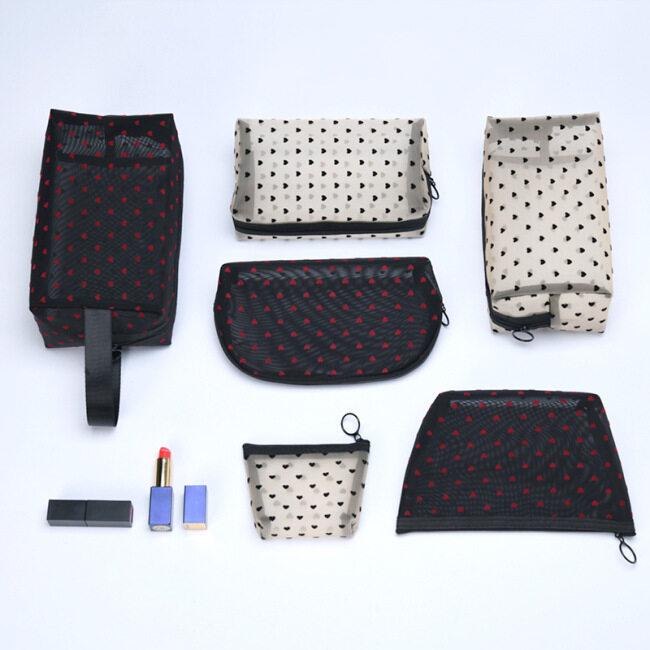 Ins mesh flocking cosmetic bag transparent new travel wash storage bag large capacity subpackage toilet bag 6 sets