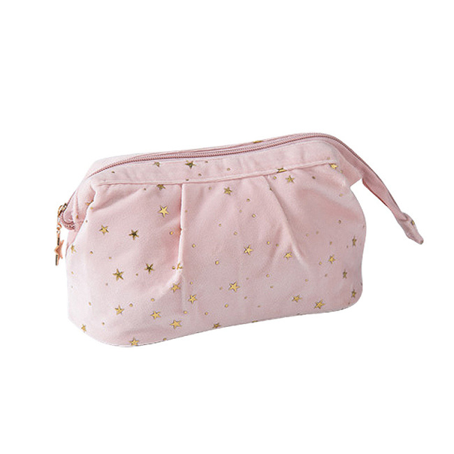 Hot stamping flannelette cosmetic bag women's super hot cosmetics storage wash bag large capacity portable small portable Beauty Bag