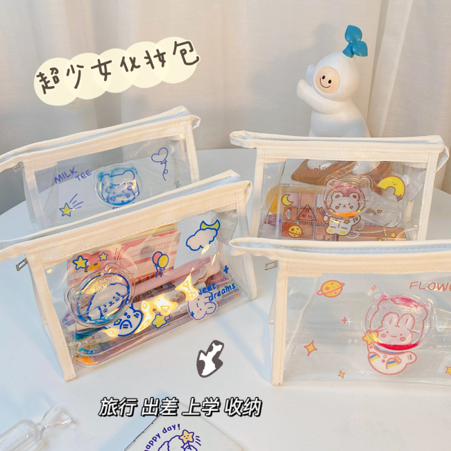 Lovely quicksand Cosmetic Bag Girl heart transparent PVC storage bag large capacity stationery storage bag