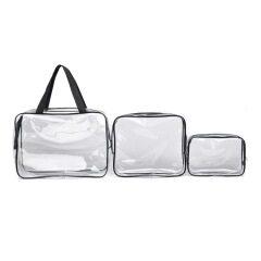 Waterproof PVC cosmetic bag multifunctional storage bag transparent environmental protection PVC three piece female washing bag