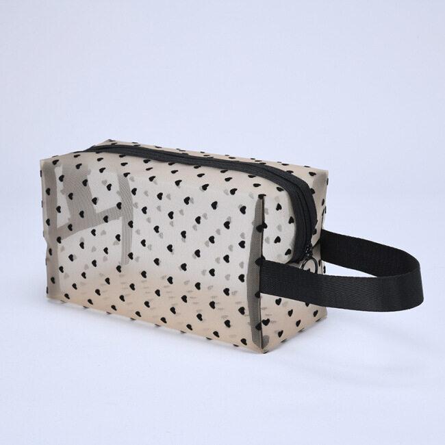 Ins mesh flocking love make-up bag portable mouth red bag travel wash storage bag subpackage toilet bag 6 sets