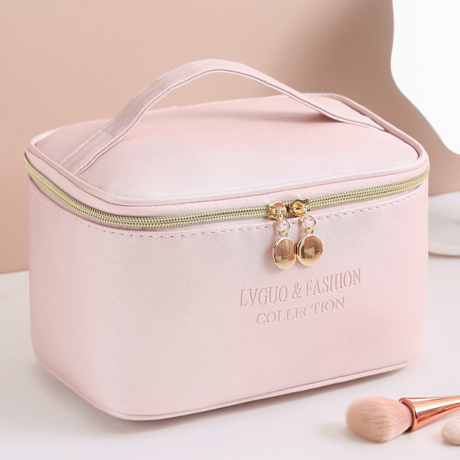 Manufacturers wholesale Korean new cross pattern PU Leather Cosmetic Bag Travel storage wash pillow bag custom logo